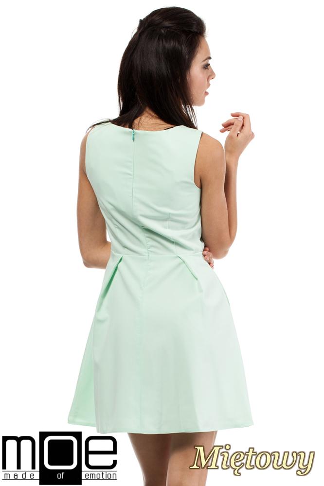 CM0280 Sukienka kontrafałda z dekoltem - miętowa