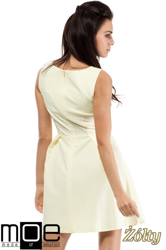 CM0280 Sukienka kontrafałda z dekoltem - żółta