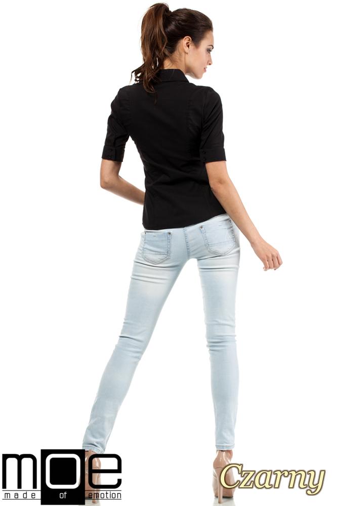 CM0284 Klasyczna taliowana koszula mankiety - czarna