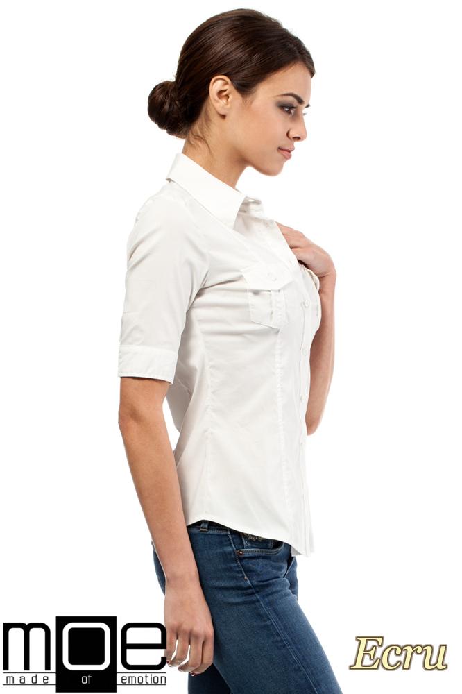 CM0284 Klasyczna taliowana koszula mankiety - ecru