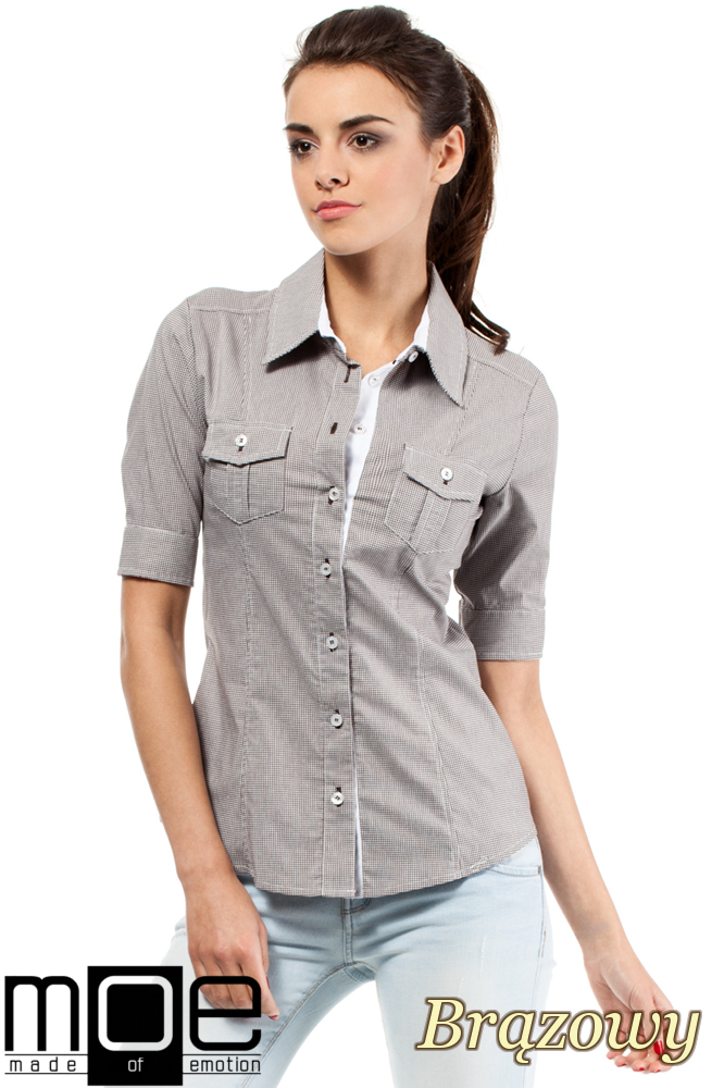 CM0284 Klasyczna taliowana koszula mankiety - brązowa