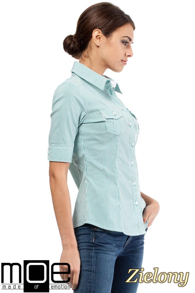 CM0284 Klasyczna taliowana koszula mankiety - zielona