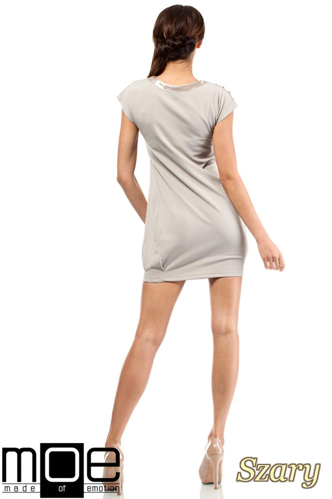 CM0285 Mini sukienka bombka tunika złote ćwieki - szara