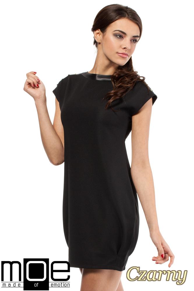 CM0285 Mini sukienka bombka tunika złote ćwieki - czarna