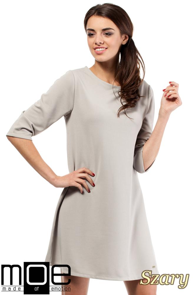 CM0286 Gładka tunika sukienka trapezowa - szara