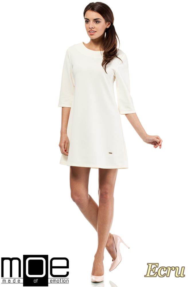 CM0286 Gładka tunika sukienka trapezowa - ecru