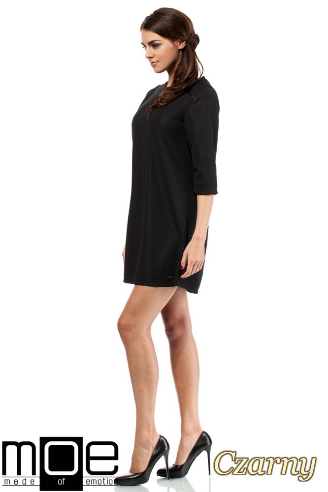 CM0286 Gładka tunika sukienka trapezowa - czarna