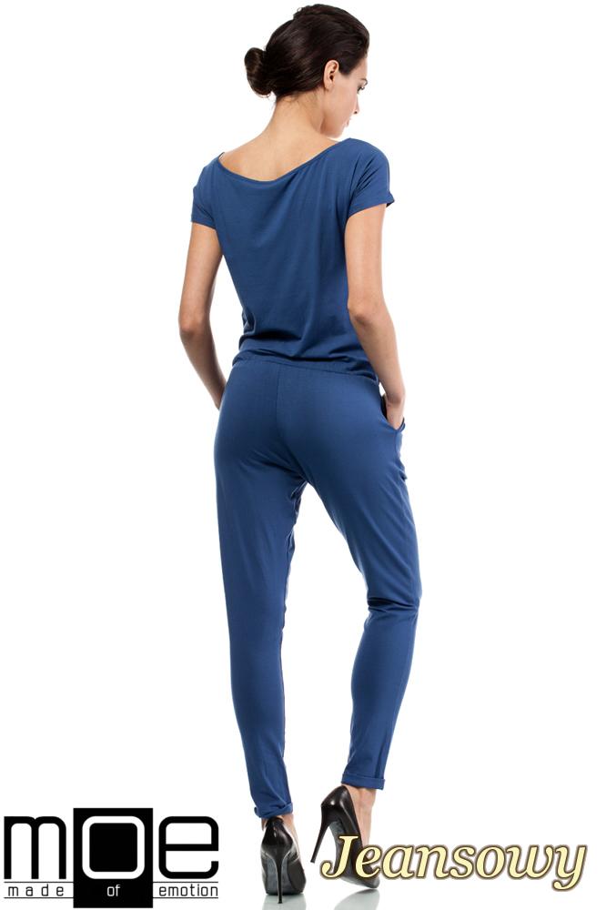 CM0663 Kombinezon damski z krótkim rękawem - jeansowy