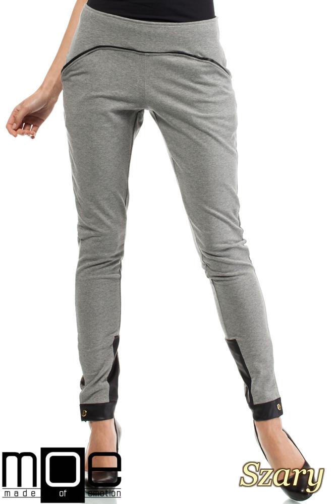 CM1445 Bawełniane spodnie damskie ze wstawką z eko-skóry - szare