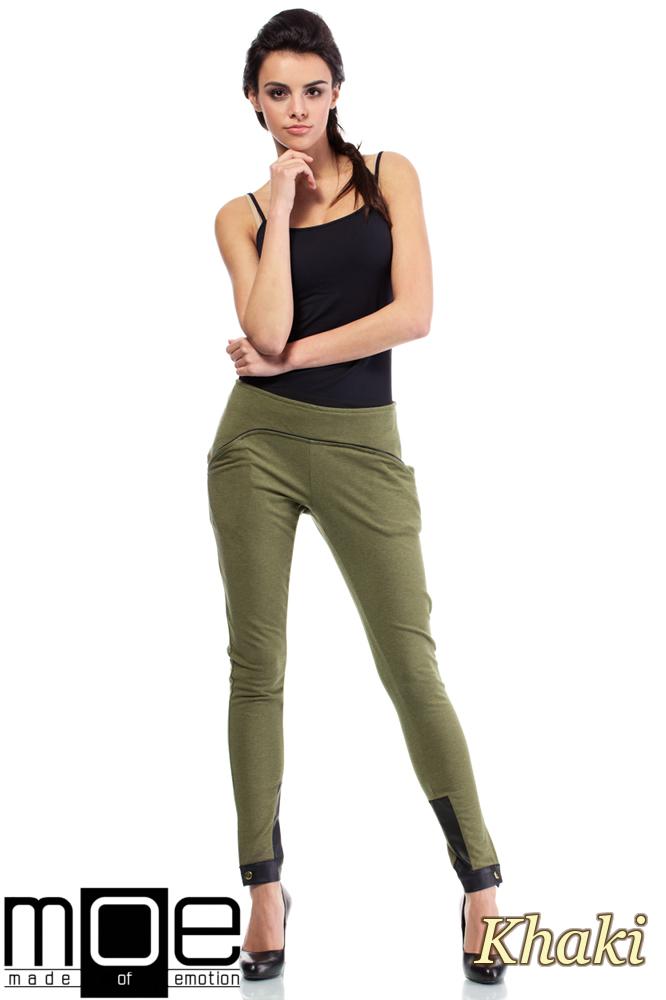 CM1445 Bawełniane spodnie damskie ze wstawką z eko-skóry - khaki