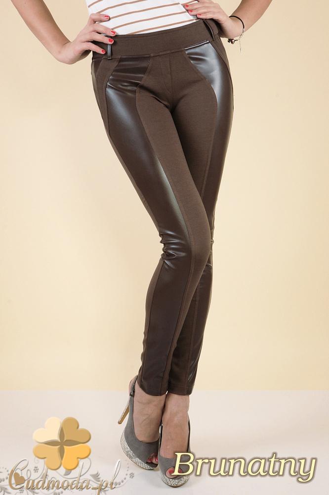 CM0030 Włoskie legginsy ze skórzaną wstawką- brunatne
