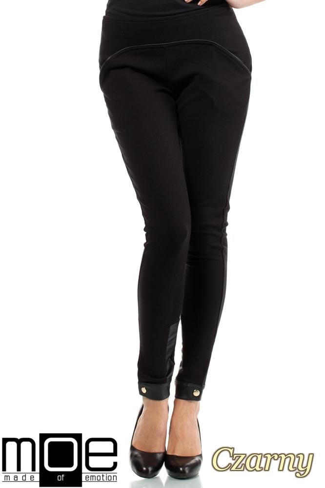 CM1445 Bawełniane spodnie damskie ze wstawką z eko-skóry - czarne