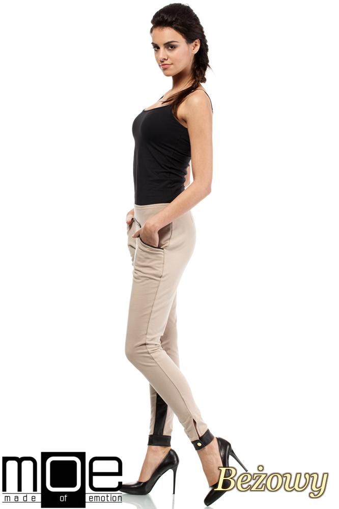 CM1445 Bawełniane spodnie damskie ze wstawką z eko-skóry - beżowe