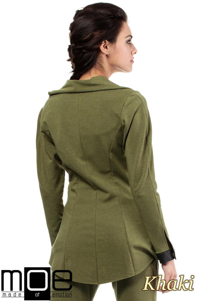 CM1446 Dresowy żakiet damski ze skórzanymi wstawkami - khaki