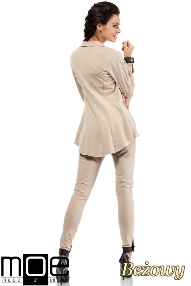 CM1446 Dresowy żakiet damski ze skórzanymi wstawkami - beżowy