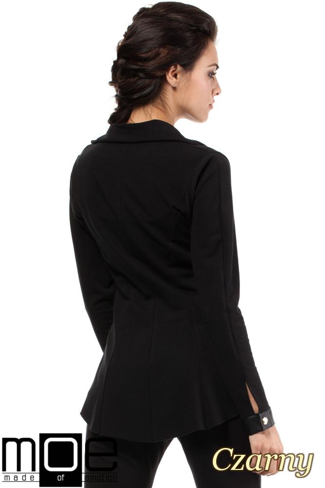 CM1446 Dresowy żakiet damski ze skórzanymi wstawkami - czarny