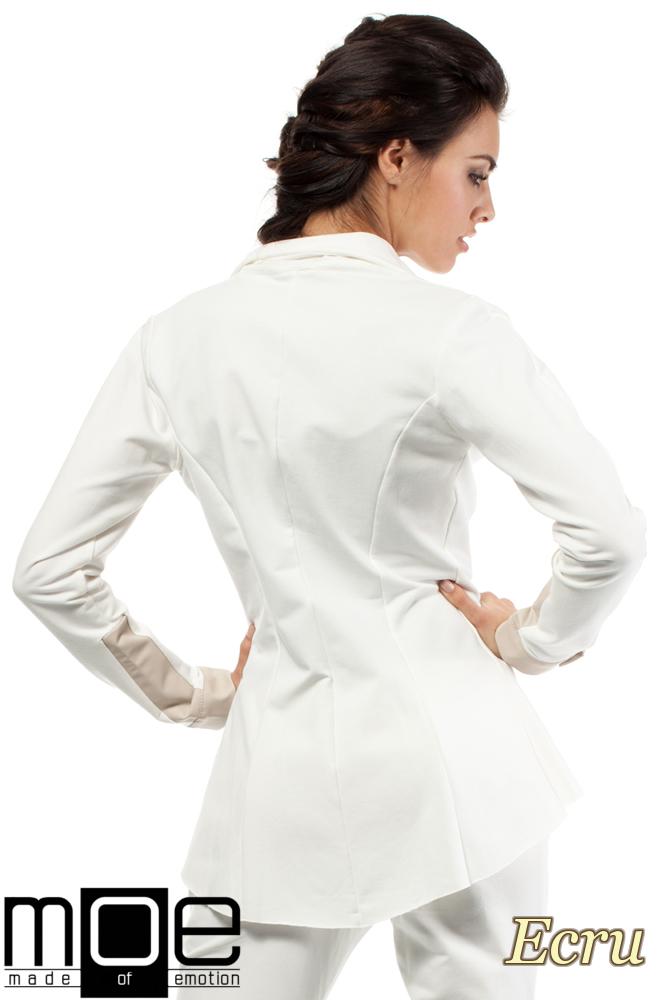 CM1446 Dresowy żakiet damski ze skórzanymi wstawkami - ecru