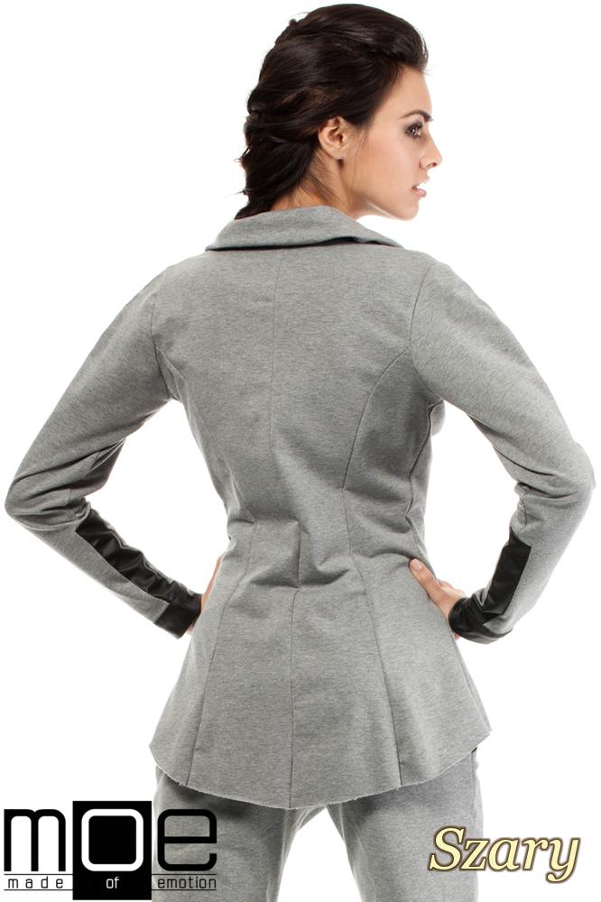 CM1446 Dresowy żakiet damski ze skórzanymi wstawkami - szary