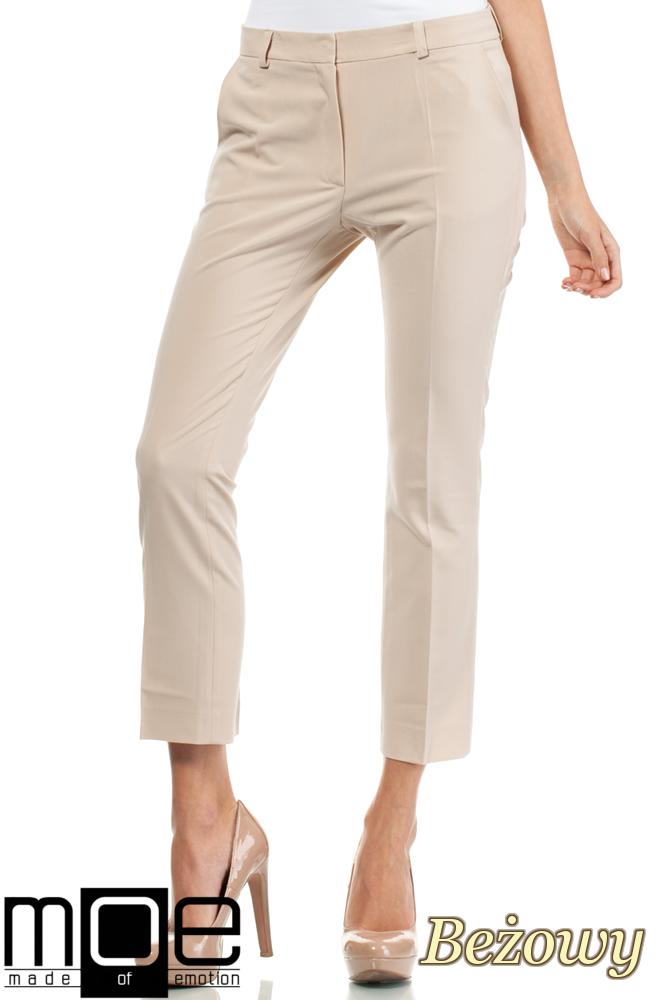 CM1449 Eleganckie spodnie damskie z pasem - beżowe