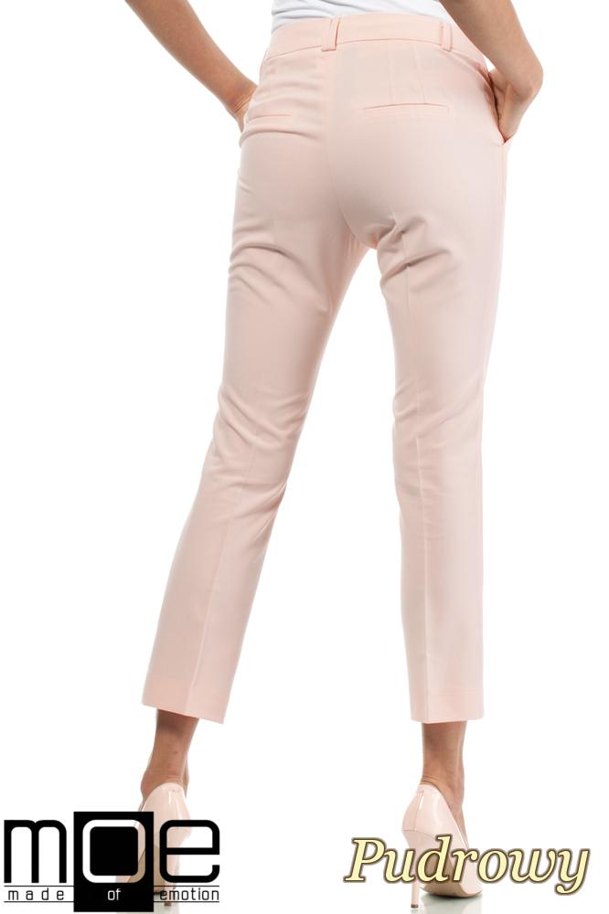 CM1449 Eleganckie spodnie damskie z pasem - pudrowe