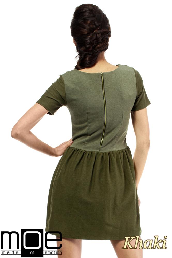 CM1559 Odcinana sukienka przed kolano z kołnierzykiem - khaki