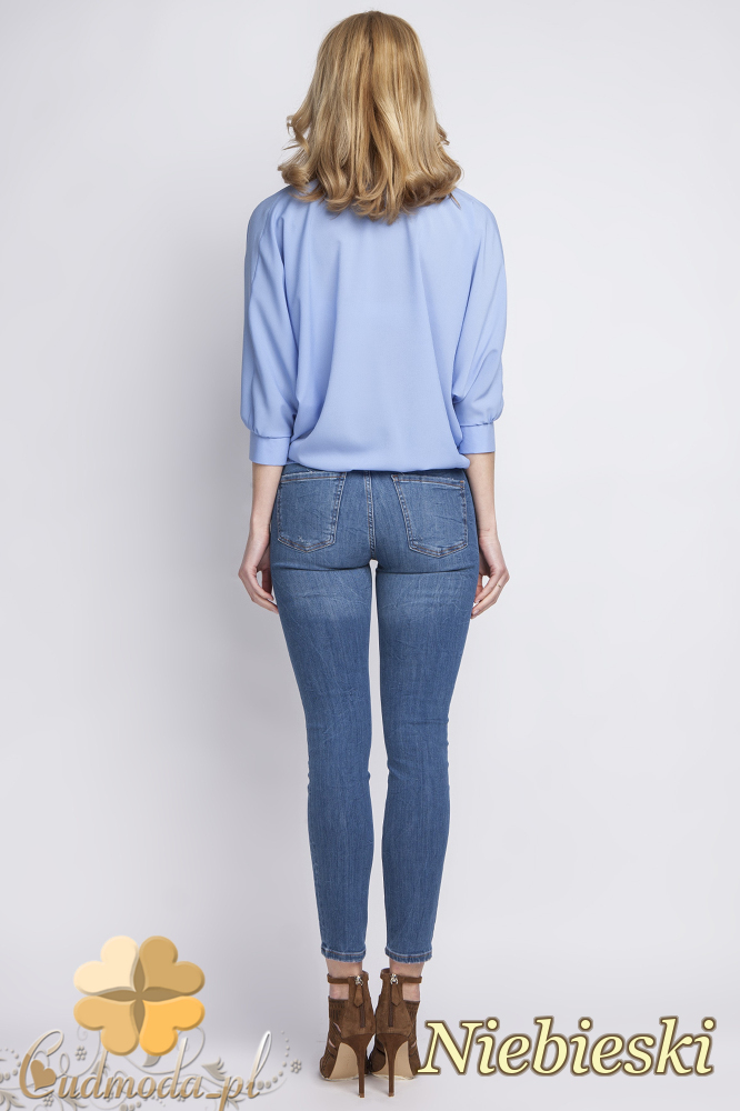 CM2279 Efektowna bluzka kopertowa - niebieska