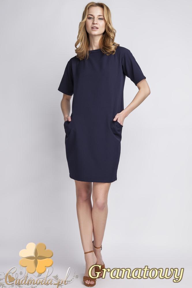 CM2284 Klasyczna sukienka elegancka z rozcięciem - granatowa