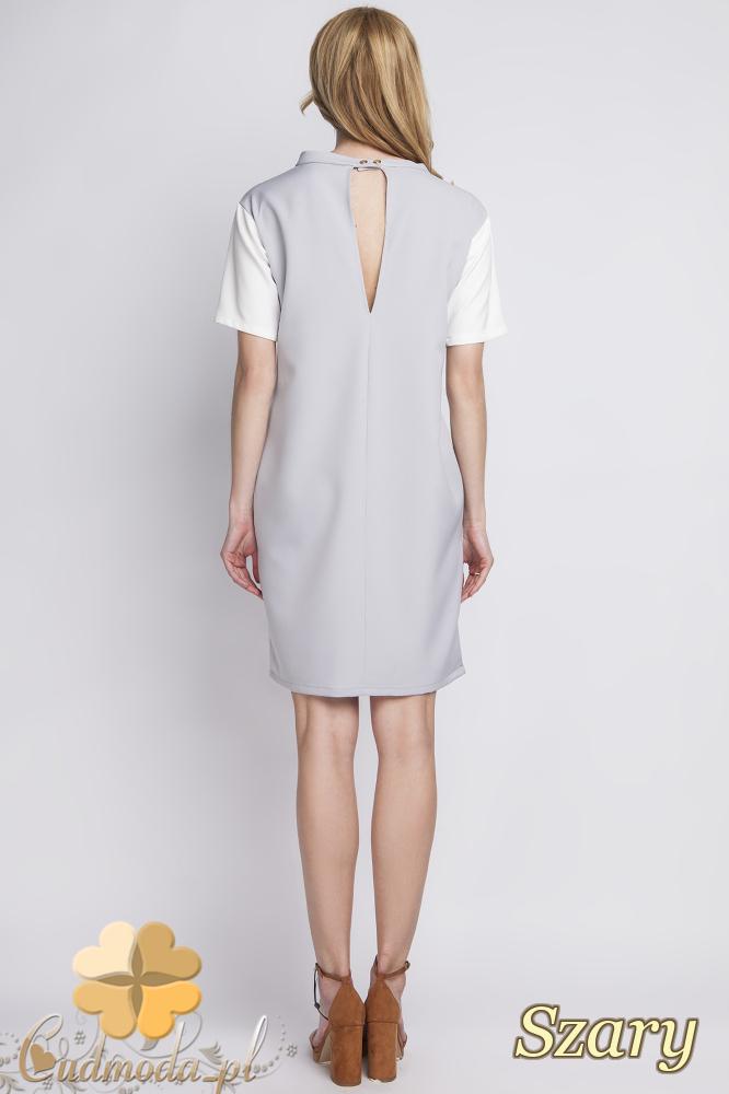 CM2284 Klasyczna sukienka elegancka z rozcięciem - szara
