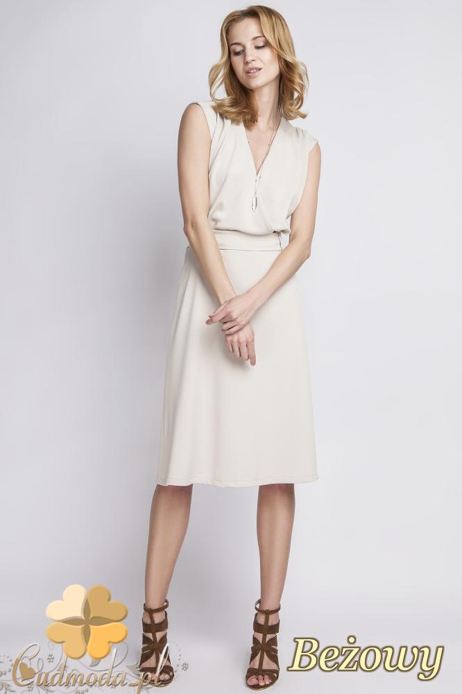 CM2285 Stylowa sukienka wieczorowa bez rękawów - beżowa