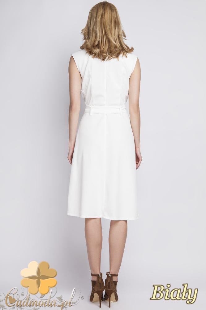 CM2285 Stylowa sukienka wieczorowa bez rękawów - biała