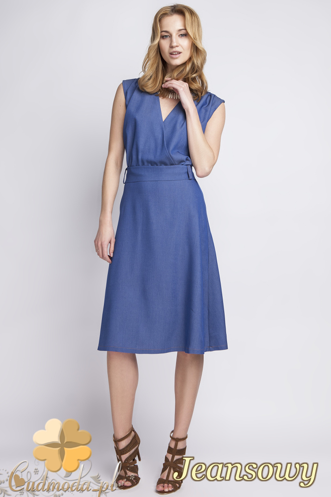 CM2286 Klasyczna jeansowa sukienka midi