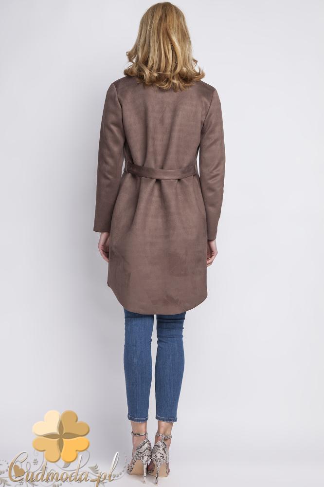 CM2290 Długi elegancki żakiet damski - brązowy