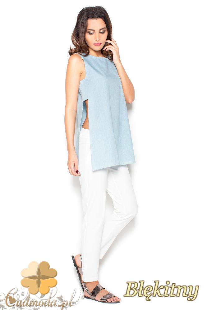 CM2296 Nowoczesna luźna bluzka damska - błękitna