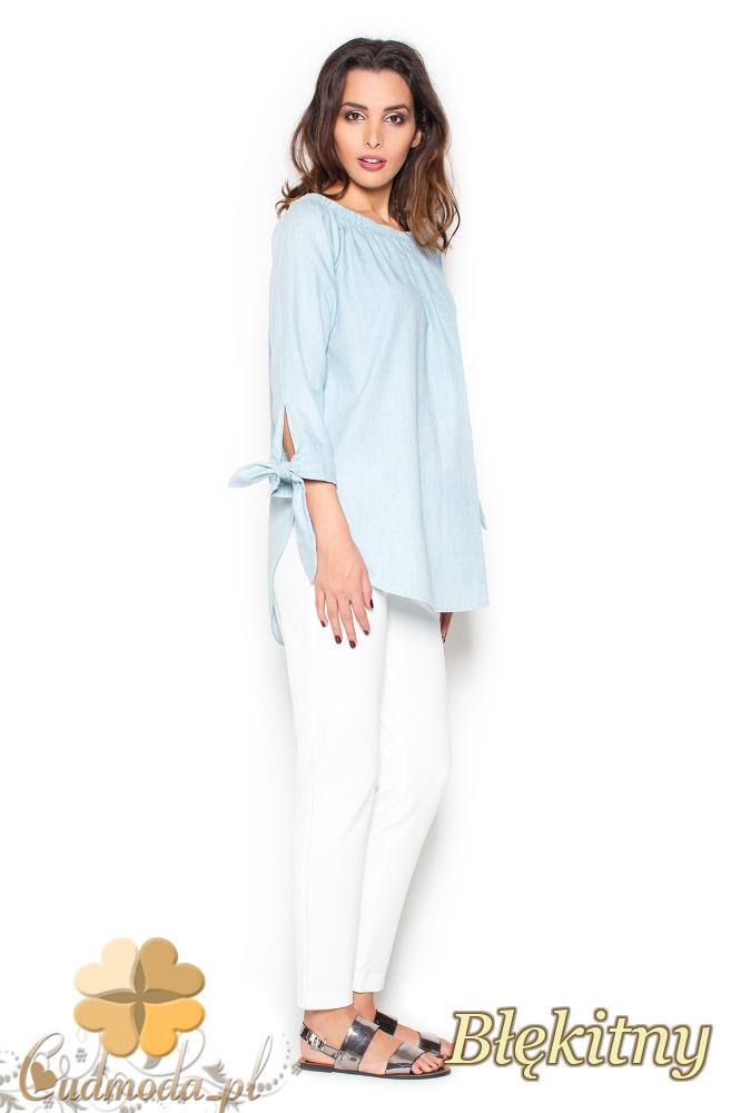CM2297 Zwiewna bluzka z marszczeniami - błękitna