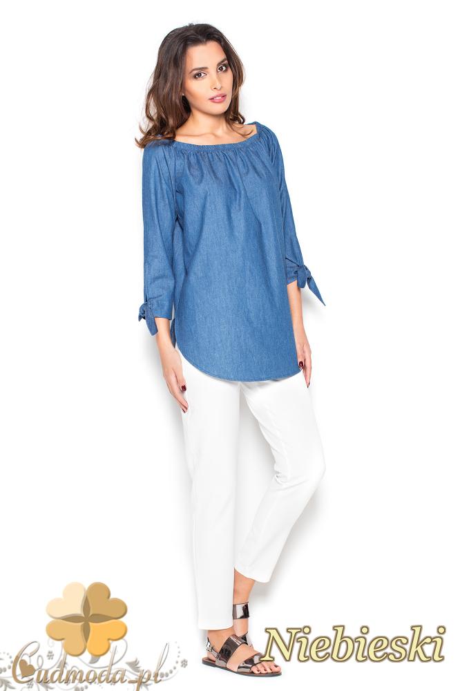 CM2297 Zwiewna bluzka z marszczeniami - niebieska