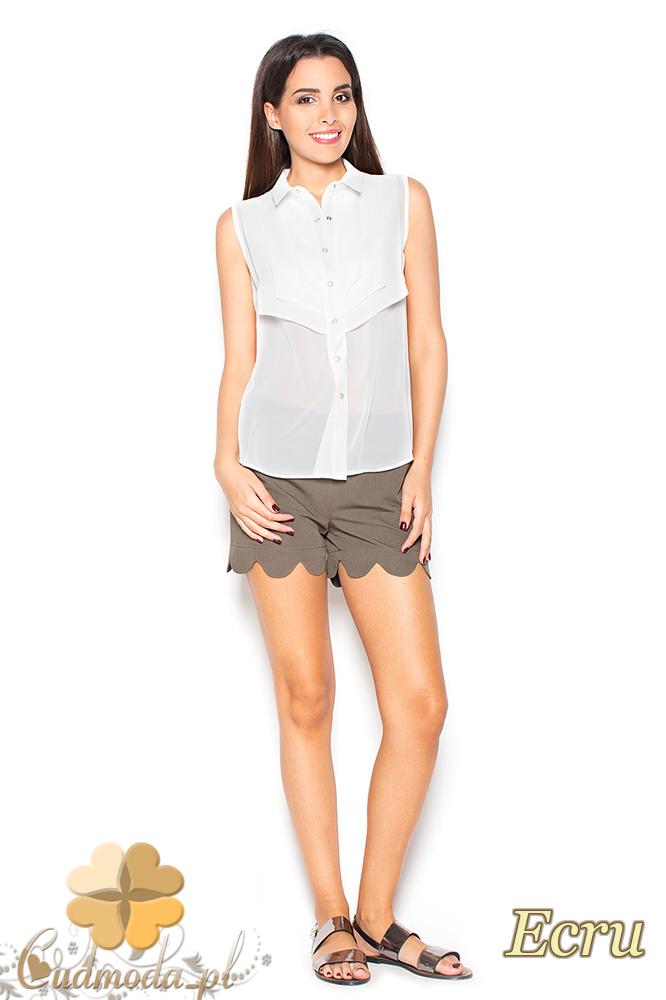 CM2298 Szyfonowa bluzka damska na lato - ecru