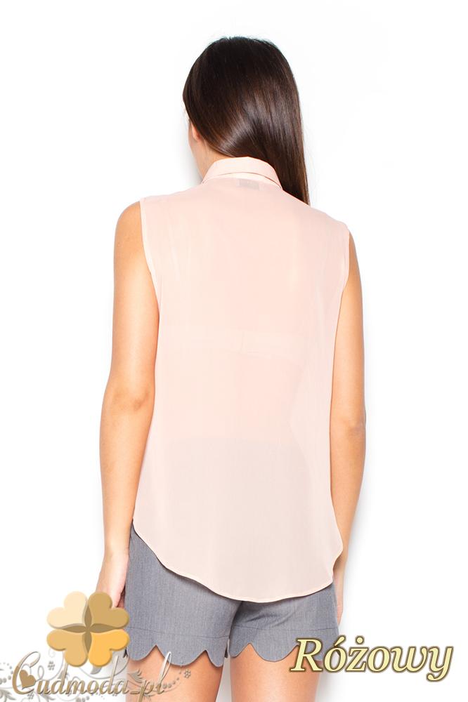 CM2298 Szyfonowa bluzka damska na lato - różowa