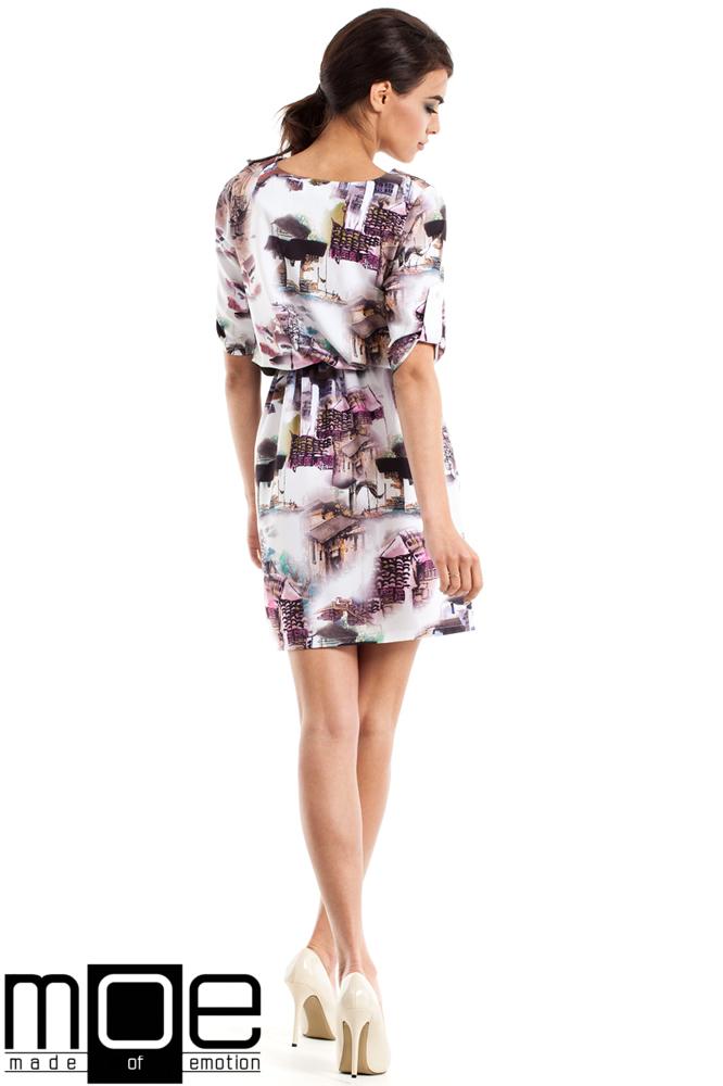 CM2341 Nowoczesna sukienka mini we wzór