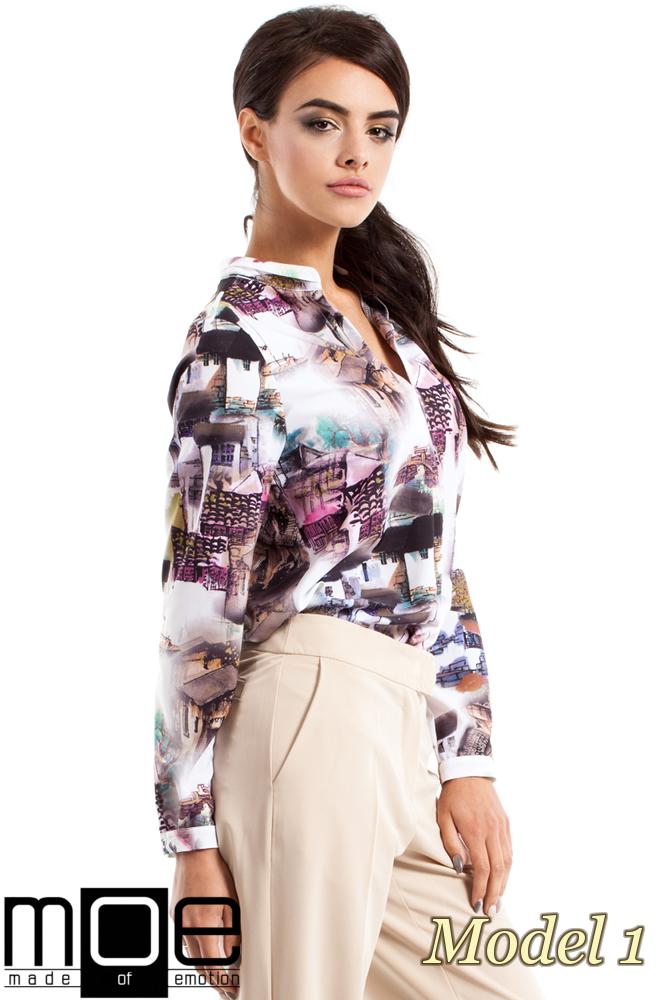 CM2343 Stylowa bluzka koszulowa we wzór