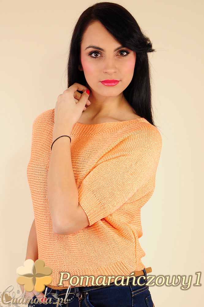 CM0184 Gładki damski sweterek nietoperz - pomarańczowy 1