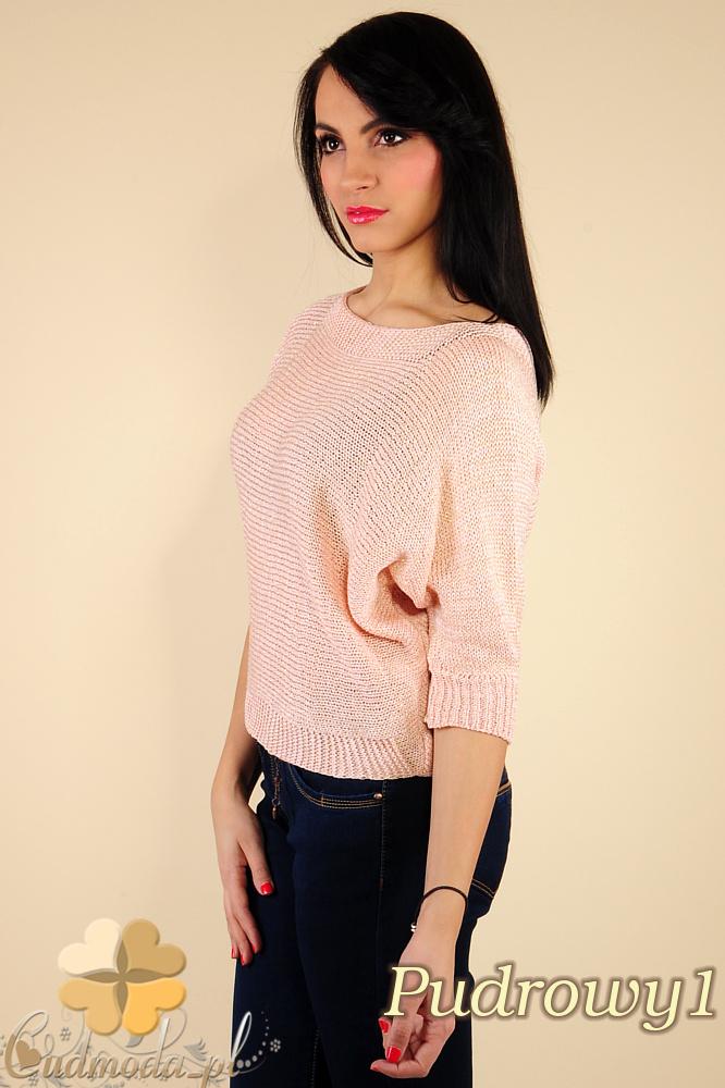 CM0184 Gładki damski sweterek nietoperz - pudrowy 1