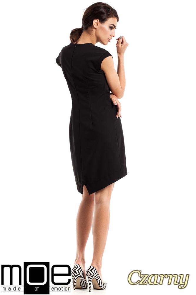 CM2346 Asymetryczna sukienka damska bez rękawów - czarna