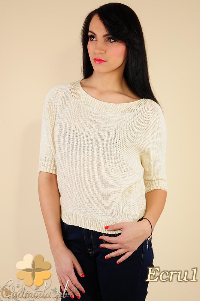 CM0184 Gładki damski sweterek nietoperz - ecru 1
