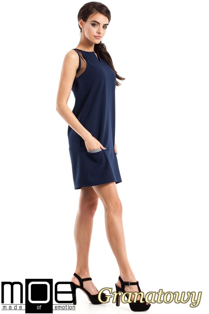 CM2347 Prosta sukienka damska bez rękawów - granatowa