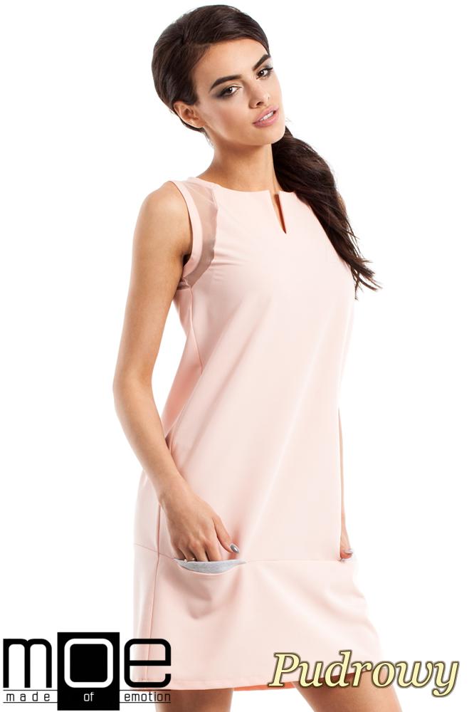 CM2347 Prosta sukienka damska bez rękawów - pudrowa