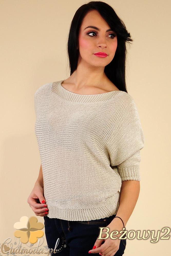 CM0184 Gładki damski sweterek nietoperz - beżowy 2