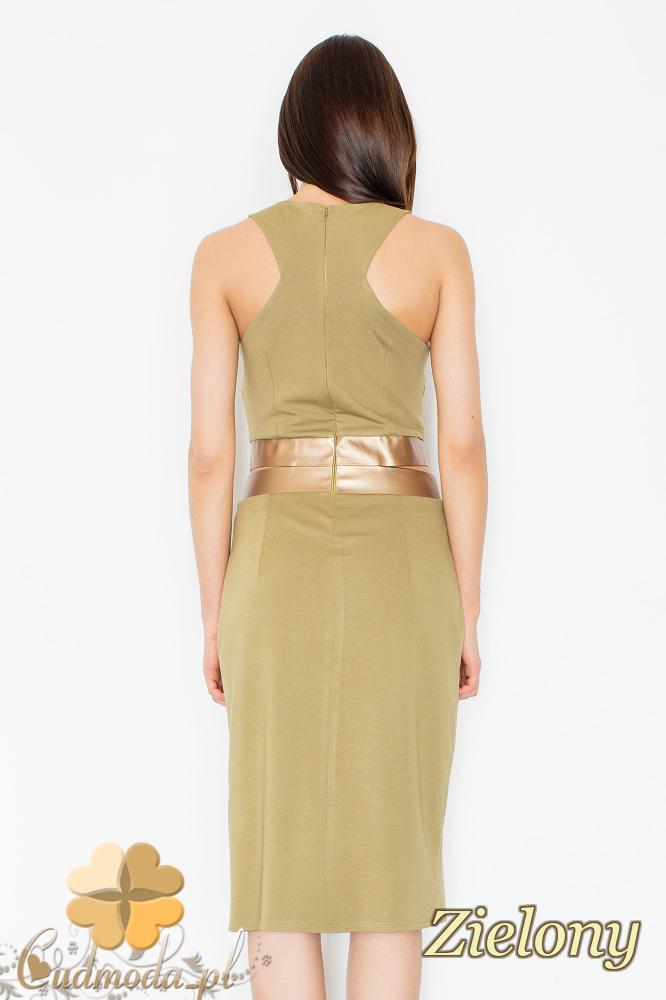 CM2352 Sukienka z dekoltem i ozdobnymi rozcięciami i złotym pasem - zielona