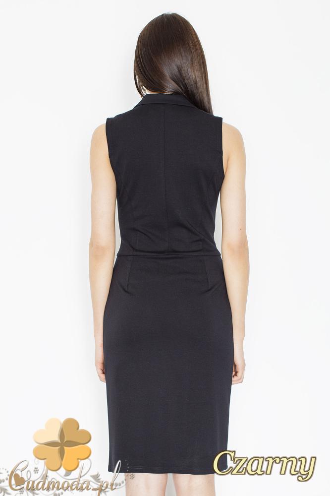 CM2354 Sukienka bez rękawów z żakietowym kołnierzem - czarna