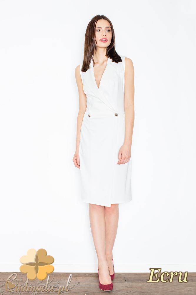 CM2354 Sukienka bez rękawów z żakietowym kołnierzem - ecru