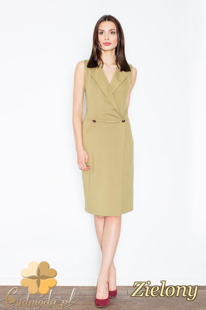 CM2354 Sukienka bez rękawów z żakietowym kołnierzem - zielona
